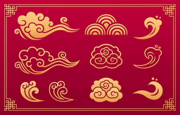 Ornamento asiatico delle nuvole ornamento asiatico delle onde modelli d'oro giapponesi e cinesi di nuvole e onde