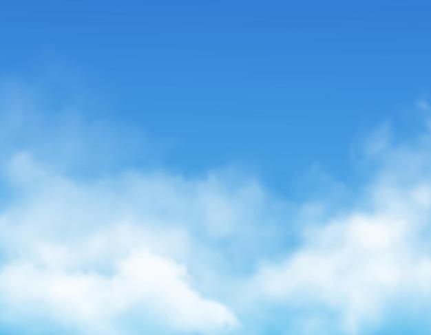 Nuvole sul fondo del cielo blu realistico