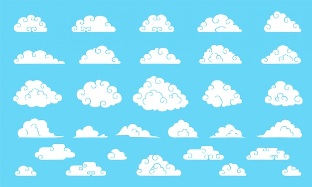Nuvole in stile cinese. grande collezione di nuvole carine