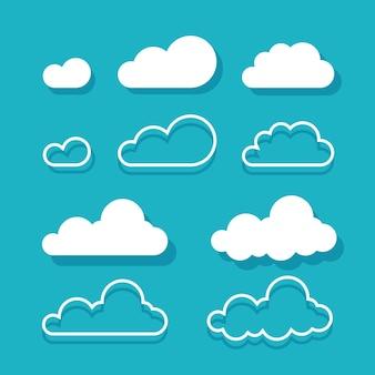 Le nuvole hanno isolato il fumetto piatto e l'arte del contorno della linea su colore blu