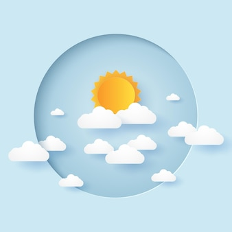Cloudscape, cielo blu con nuvole e sole in cornice circolare, stile paper art