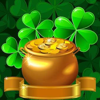 Trifoglio e pentola d'oro con monete