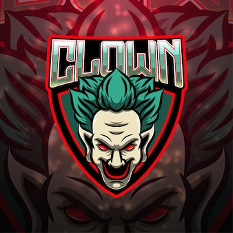 Clown esport mascotte logo design