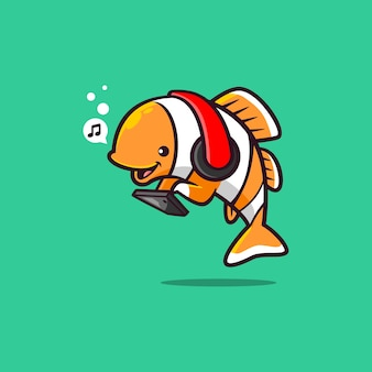 Pesce pagliaccio ascoltando musica