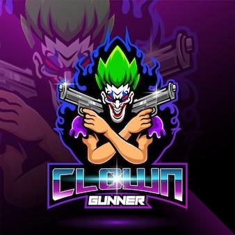 Logo mascotte esportatore di clown gunner
