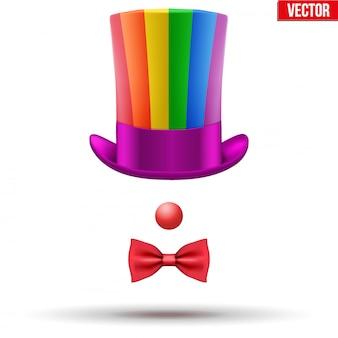 Cappello da clown con occhiali e naso rosso su sfondo bianco