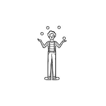 Clown con abilità di destreggiarsi sull'icona di doodle di contorni disegnati a mano. illustrazione di schizzo di vettore del giocoliere per stampa, web, mobile e infografica isolato su priorità bassa bianca.