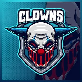 Modello di illustrazioni di design logo esport mascotte pagliaccio, logo joker per gioco di squadra