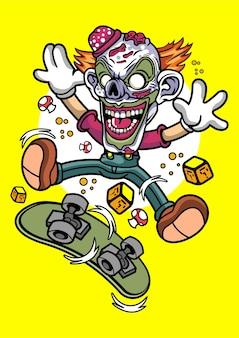 Illustrazione di pattinatore pagliaccio disegnato a mano