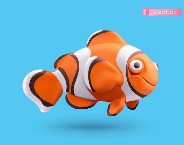 Carattere di pesce pagliaccio in 3d