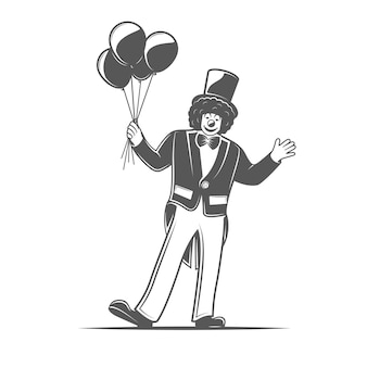 Clownerie. elemento del circo su priorità bassa bianca. simboli per loghi ed emblemi del circo. illustrazione