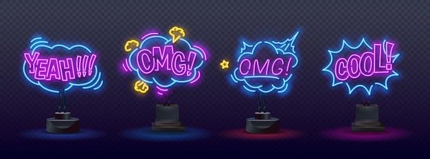 Insegne al neon di pagliacci impostate