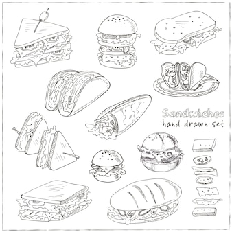 Club sandwich cheeseburger hamburger deli wrap roll taco baguette bagel toast