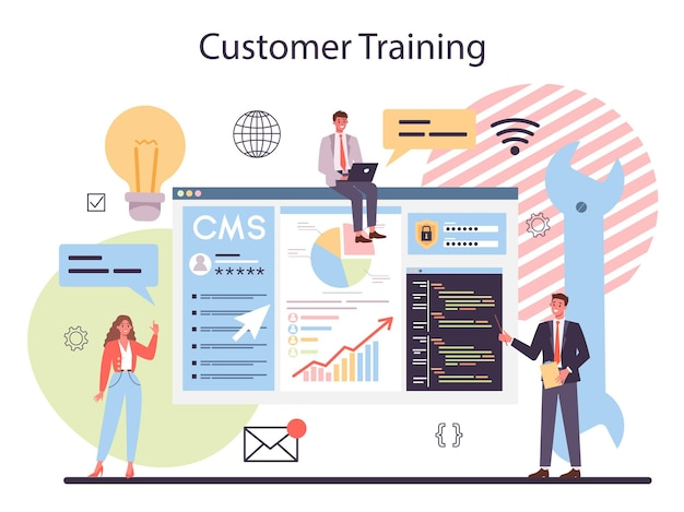 Formazione clienti cms. sistema di gestione dei contenuti. creazione e modifica di contenuti digitali. idea di strategia digitale e contenuti per la realizzazione di social network. illustrazione piatta isolata