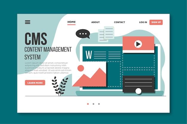 Design piatto del sito web cms