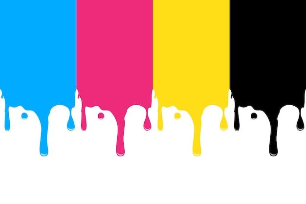 Elemento di design con schizzi d'acqua a colori cmyk su sfondo bianco