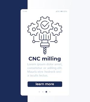 Fresatura cnc, design banner mobile con icona linea