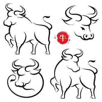 Set di mucche disegnate a mano cny, stile di calligrafia cinese, traduzione del testo del bue in metallo. modello cinese della cartolina d'auguri del manifesto dell'insegna del nuovo anno con l'animale del toro disegnato a mano. oroscopo del calendario lunare animale