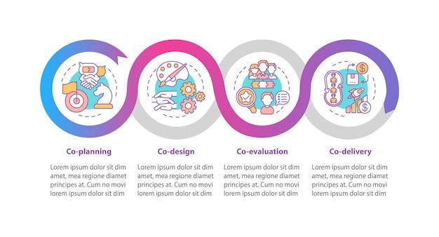 Modello di infografica parti di co produzione. co-pianificazione, co-valutazione, elementi di design della presentazione. visualizzazione dei dati con 4 passaggi. elaborare il grafico della sequenza temporale. layout del flusso di lavoro con icone lineari