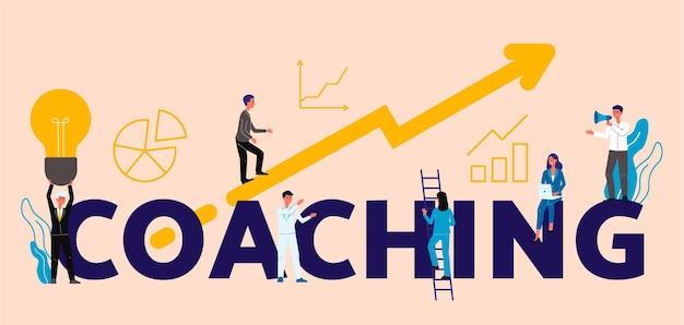Coaching o concetto di formazione aziendale con personaggi dei cartoni animati di persone in aumento sulla freccia verso il successo e diretti dall'allenatore