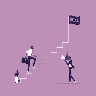 Illustrazione del concetto di coaching raggiungi i tuoi obiettivi aziendali nella promozione della carriera lavorativa con le scale