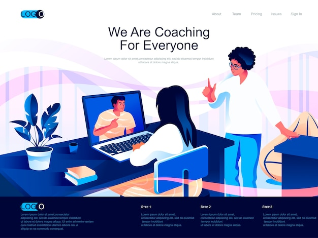 Pagina di destinazione isometrica di coaching con situazione di caratteri piatti