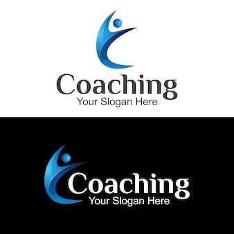 Logo di coaching, lettera c con logo sfumato di persone, design del logo di consulenza del marchio