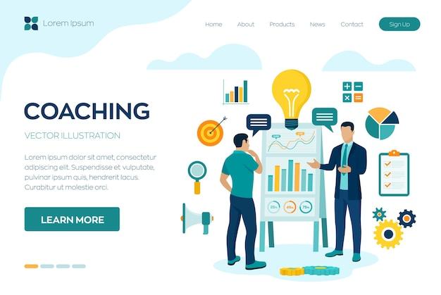 Concetto di coaching e mentoring. consulenza aziendale o servizio di consulenza. uomo d'affari con istruttore di affari che discute la strategia aziendale.
