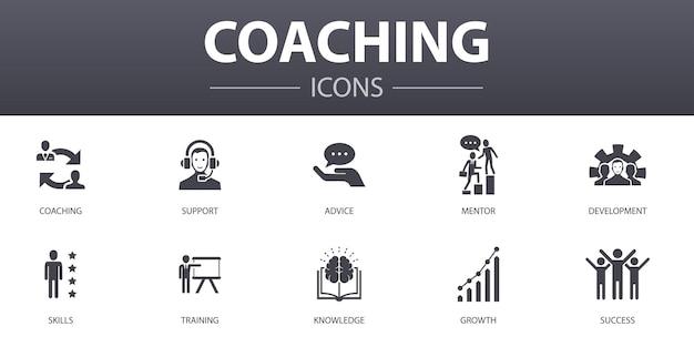 Set di icone di concetto semplice di coaching. contiene icone come supporto, mentore, competenze, formazione e altro, può essere utilizzato per web, logo, ui/ux