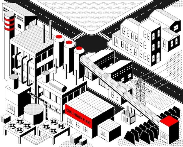 L'energia del carbone, centrale elettrica a carbone con grafica isometrica