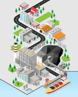 Energia di carbone, centrale a carbone con grafica isometrica