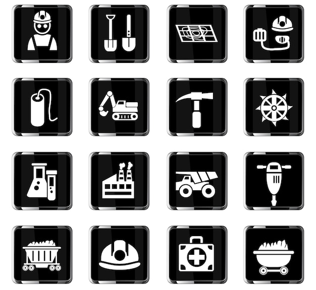Icone web dell'industria del carbone per la progettazione dell'interfaccia utente