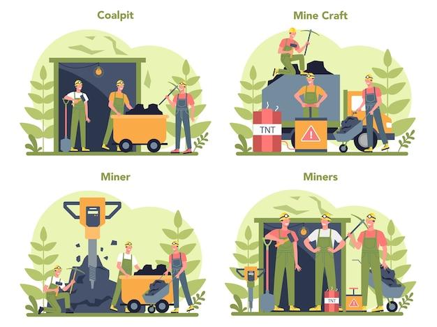 Insieme di concetto di estrazione mineraria di carbone o minerali
