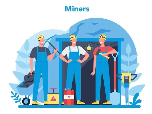 Concetto di data mining di carbone o minerali. operaio in uniforme e casco con piccone, martello pneumatico e carriola che lavora sottoterra. professione nell'industria estrattiva. illustrazione vettoriale piatto isolato