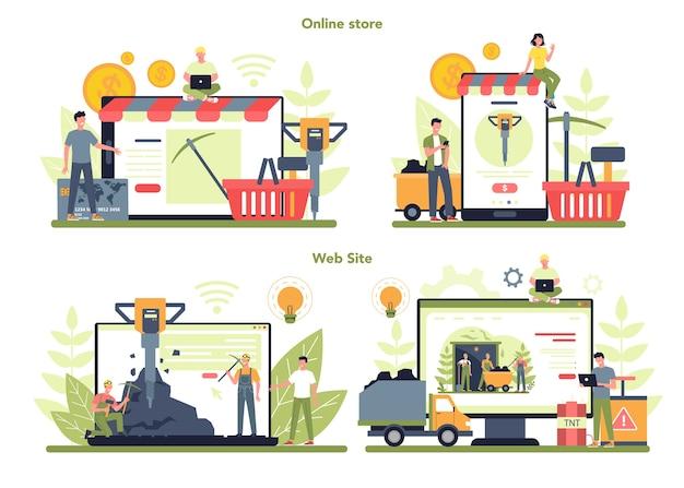 Servizio o piattaforma online di estrazione di carbone o minerali su un set di concetti di dispositivi diversi