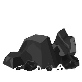 Materiale industriale di energia del mucchio di carbone isolato su sfondo bianco in stile cartone animato