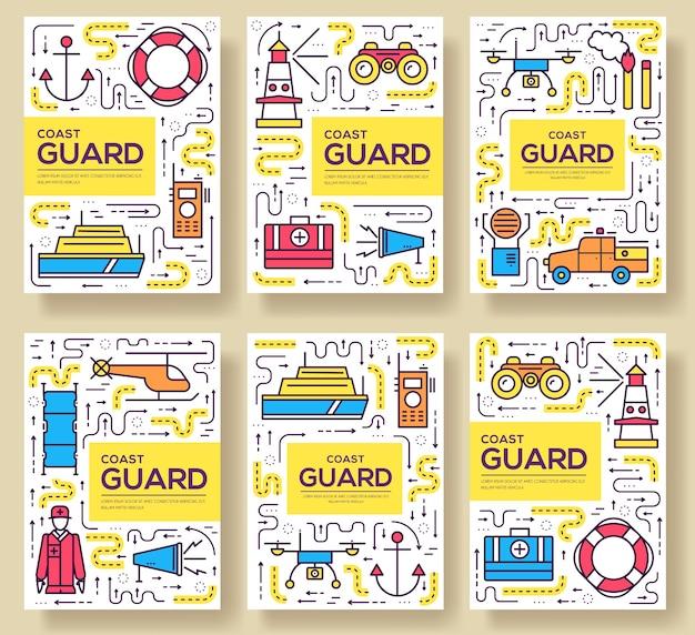Set di linee sottili di carte della guardia costiera