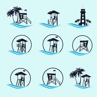 Pacchetto logo della torre della guardia costiera