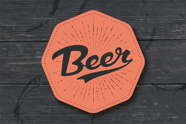 Sottobicchiere per birra con lettere disegnate a mano birra