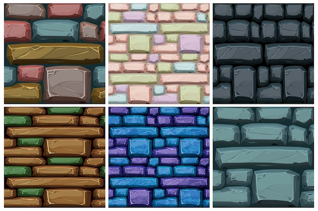 Struttura senza giunte di pietre di ciottoli, motivo di strade multicolori per carta da parati. illustrazione vettoriale imposta lo sfondo di pietra per l'interfaccia utente del gioco.