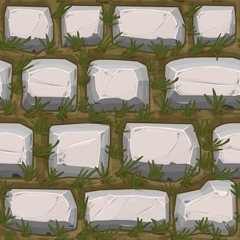 Ciottoli pietre struttura senza giunte con erba, modello vintage grigio per carta da parati.
