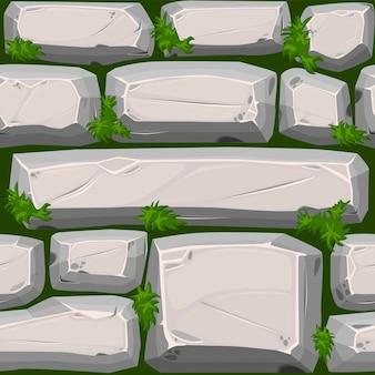 Struttura senza giunte di pietre di ciottoli con erba, strada vintage grigia. illustrazione di uno sfondo di pietra per l'interfaccia utente del gioco.