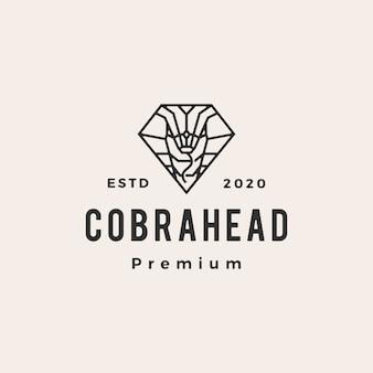 Cobra nell'illustrazione d'annata dell'icona di logo dei pantaloni a vita bassa di forma del diamante