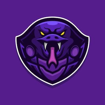 Modello di logo di gioco mascotte cobra e-sports