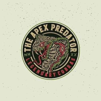 Illustrazione disegnata a mano del distintivo d'annata della testa della cobra