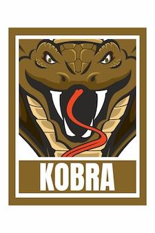 Cobra snack face design frame isolato su verde