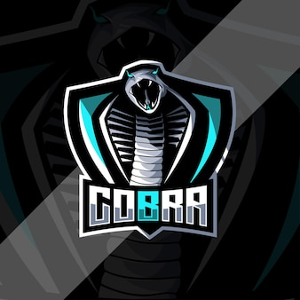 Modello di progettazione di esport logo mascotte serpente cobra