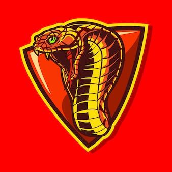 Progettazione dell'illustrazione di logo di sport della cobra