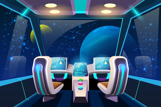 Cockpit per il controllo dei sistemi interni del veicolo spaziale e dei suoi sistemi di propulsione.
