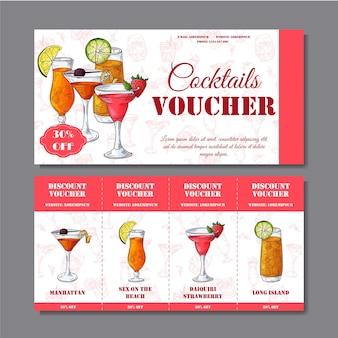Buono sconto cocktail per bar o ristorante. stile moderno con elementi disegnati a mano. illustrazione vettoriale di alcol.